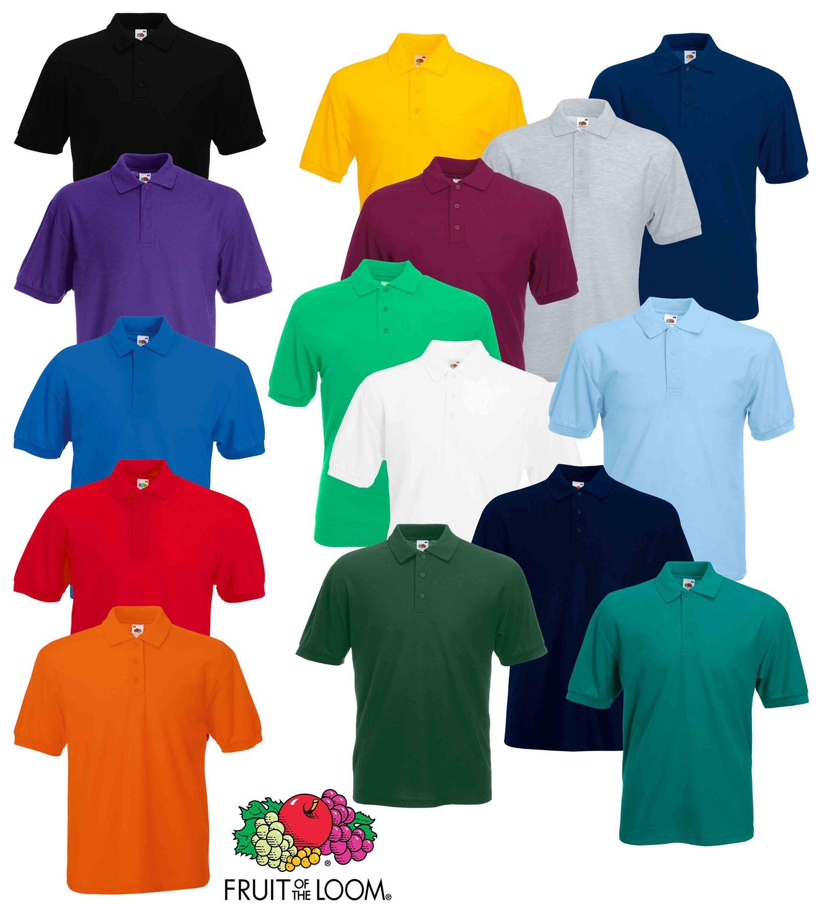 19a18f6a Fruit of the Loom Plain Cotton Mens Polo Shirts T-Shirt Short Sleeve ...
