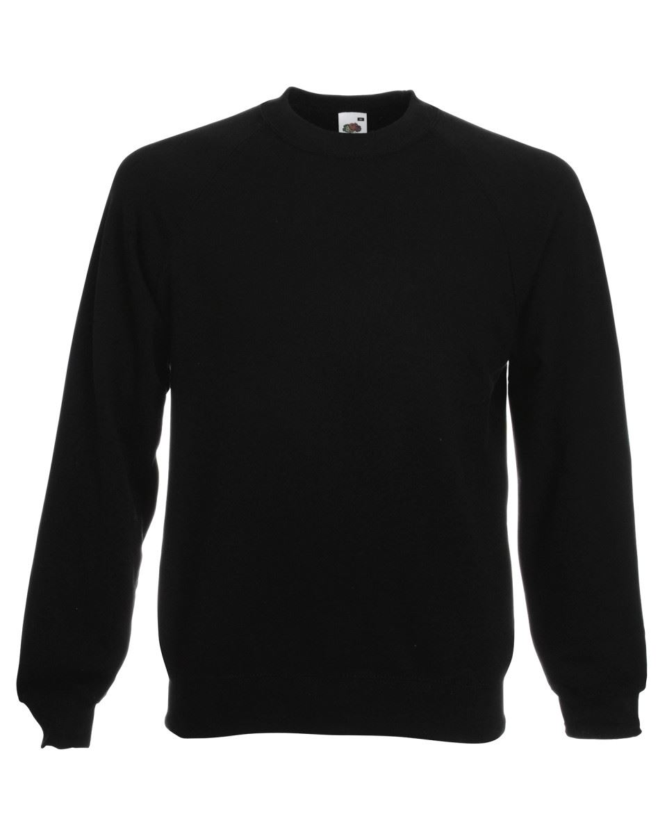 Mens-Sweatshirt-Fruit-Of-The-Loom-Raglan-Sweat-Pullover-Plain-Top-Jumper-Sweater thumbnail 2