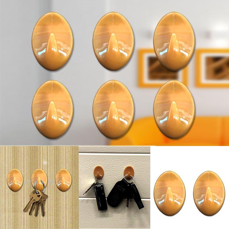 Autoadesivo-bastone-su-Ganci-Marrone-Bianco-Ovale-Cappello-Cappotto-Porta-Muro-appiccicoso-Staffa miniatura 36