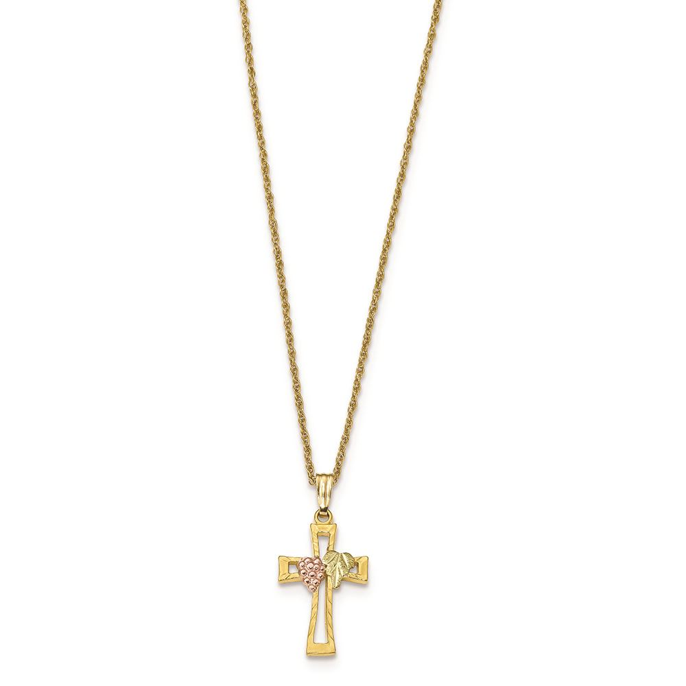 54b9328ccf763 Details about 10K Tri Color Gold Black Hills Gold Crucifix Pendant with  Necklace, 18