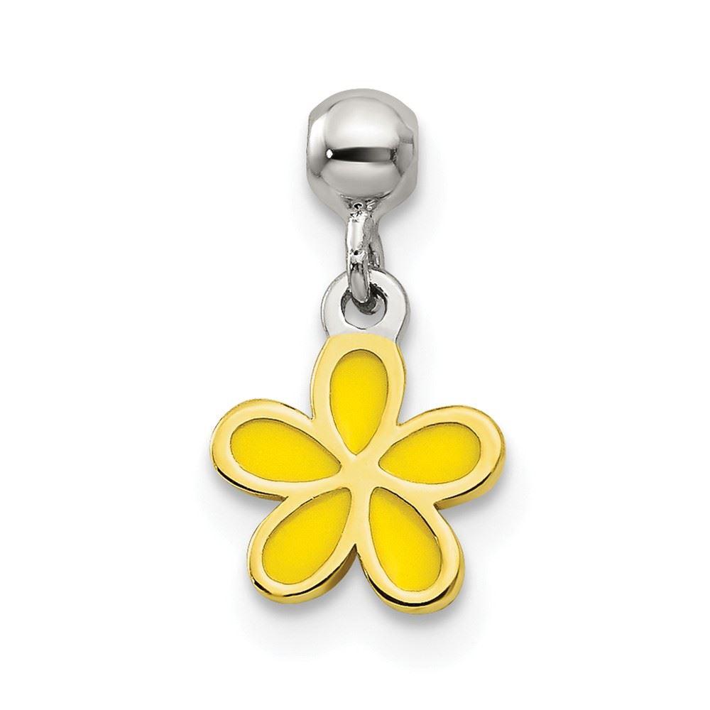 Gold-Tone Sterling Silver Mio Memento /& Yellow Enamel Flower Bead Slide Charm
