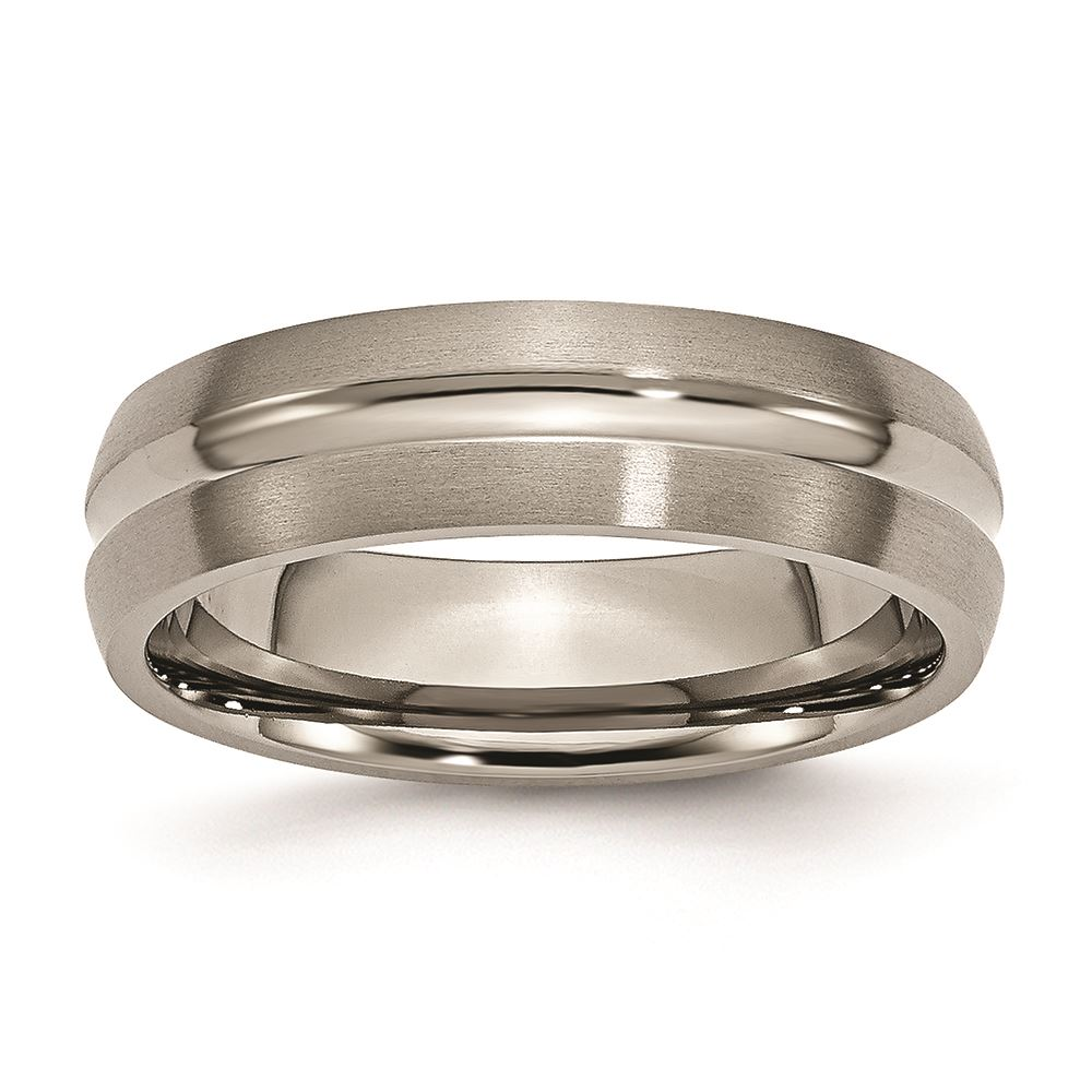 Bridal Titanium Flat Grooved 6mm Brushed Band