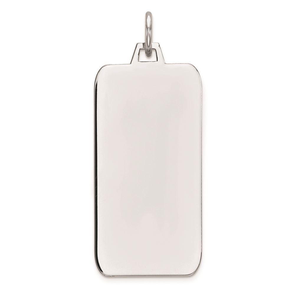 925 Sterling Silver Engraveable Rectangle Polished Front//Back Disc Charm Pendant