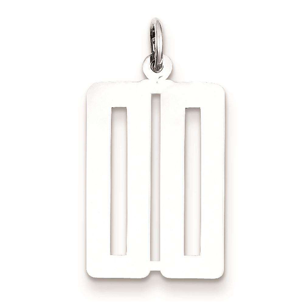 925 Sterling Silver Small Elongated Polished Number 38 Charm and Pendant