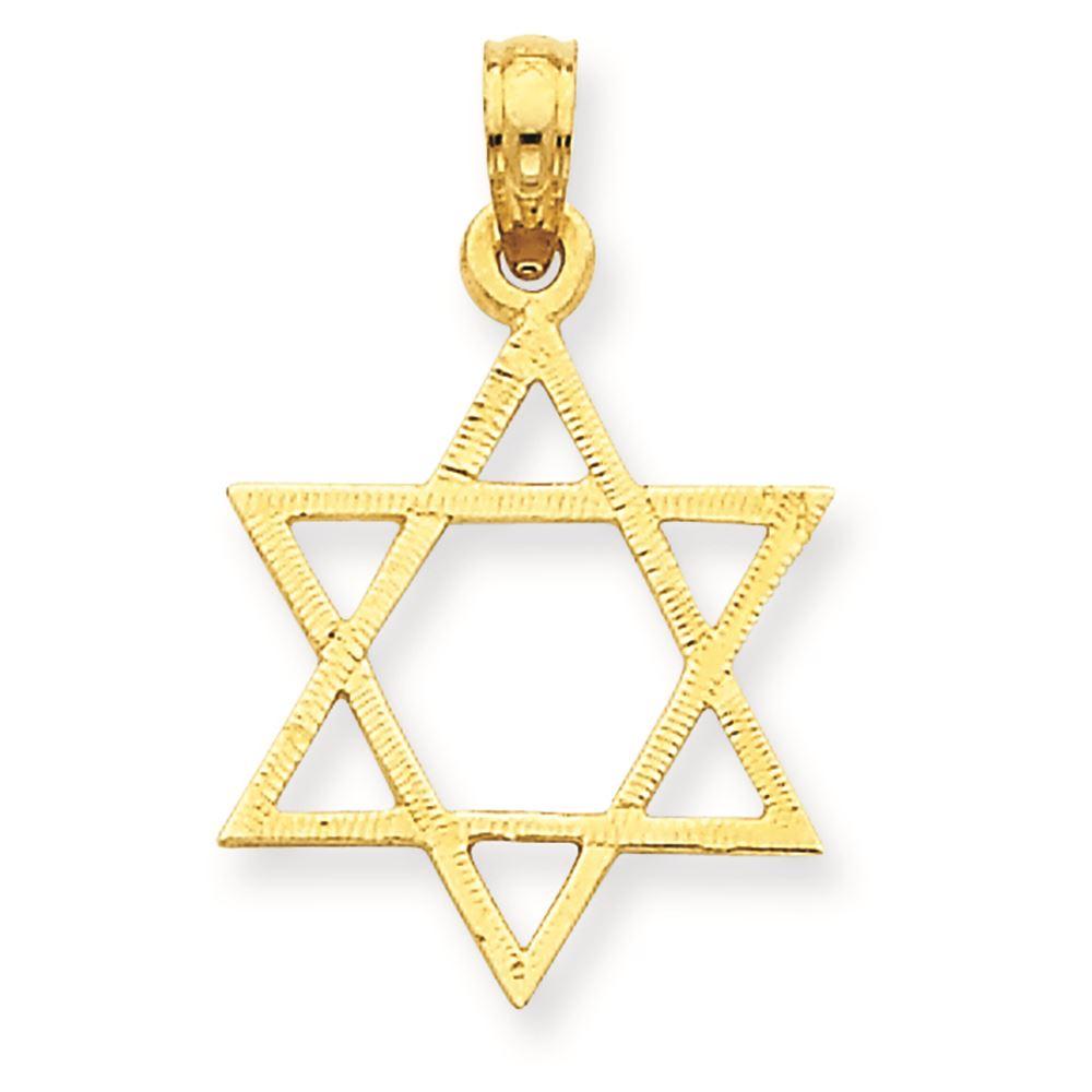 14K Yellow Gold Star of David Charm Pendant MSRP $260