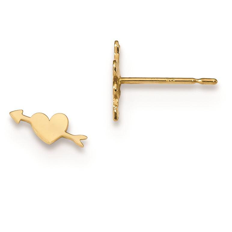 14K Yellow Gold Madi K Heart with Arrow Post Earrings