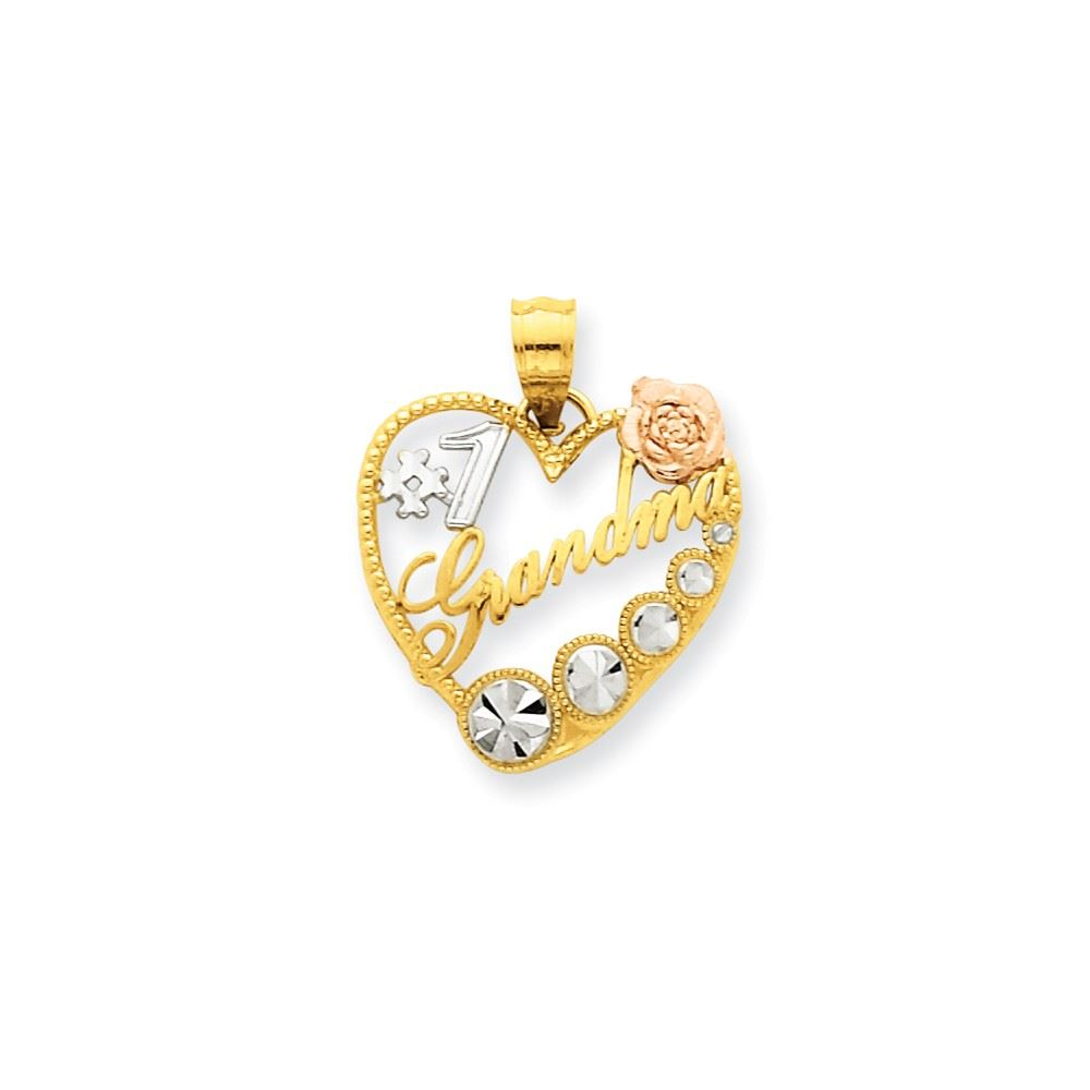 Fine Jewelry 14K Tri-Color Gold Triple Heart Charm Pendant m2RyeedOm9