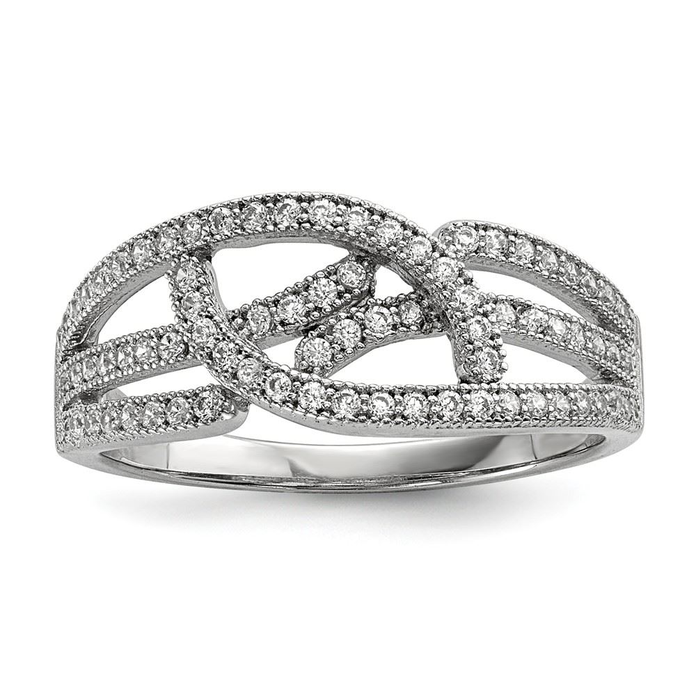 Sterling Silver /& CZ Brilliant Embers Polished Mens Ring
