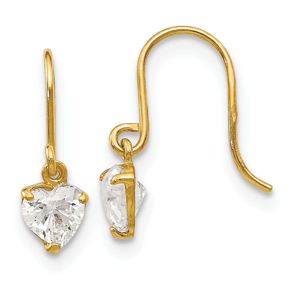14K Yellow Gold Madi K Childrens 3 MM CZ Square Post Stud Earrings