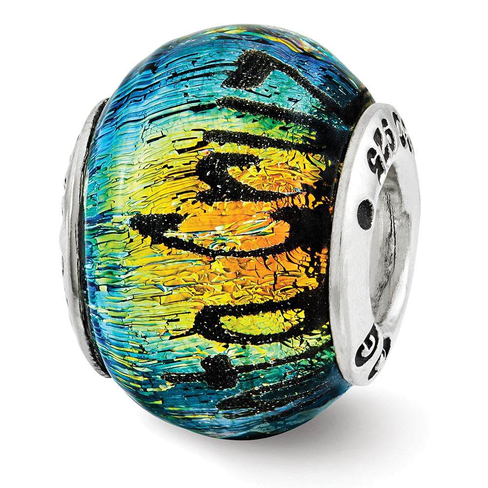 Key West Orange Dichroic Glass Bead .925 Sterling Silver Reflection Beads
