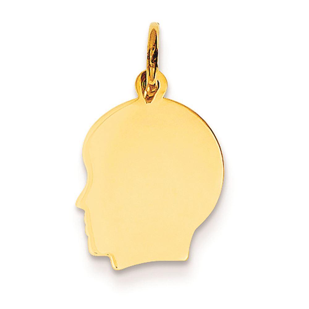 14k Plain Medium .035 Gauge Facing Left Engravable Girl Head Charm