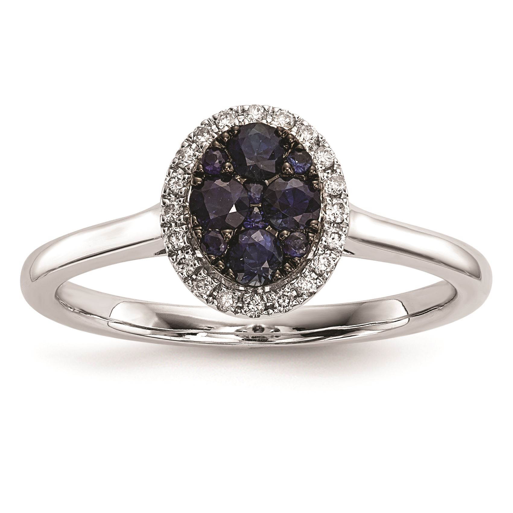 14K White gold Diamond and bluee Sapphire Ring, Size 7 MSRP  1987