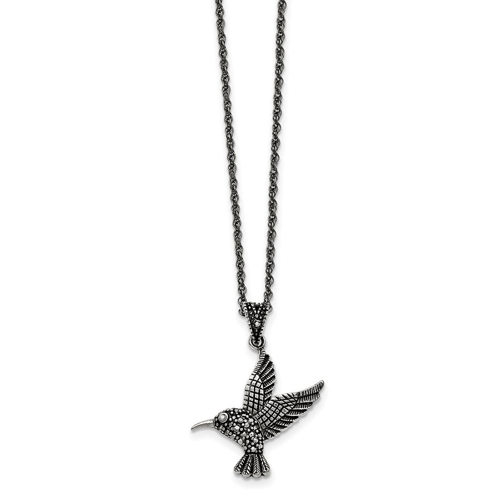18 Inch Stainless Steel Antiqued and Polished with Crystal Wing Necklace