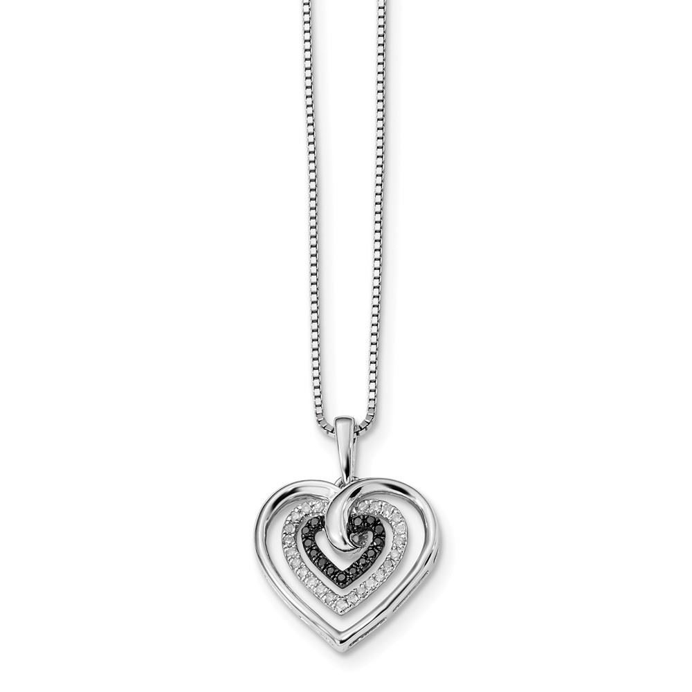 7646f49bc Sterling Silver Black and White Diamond Heart Charm Pendant Necklace ...