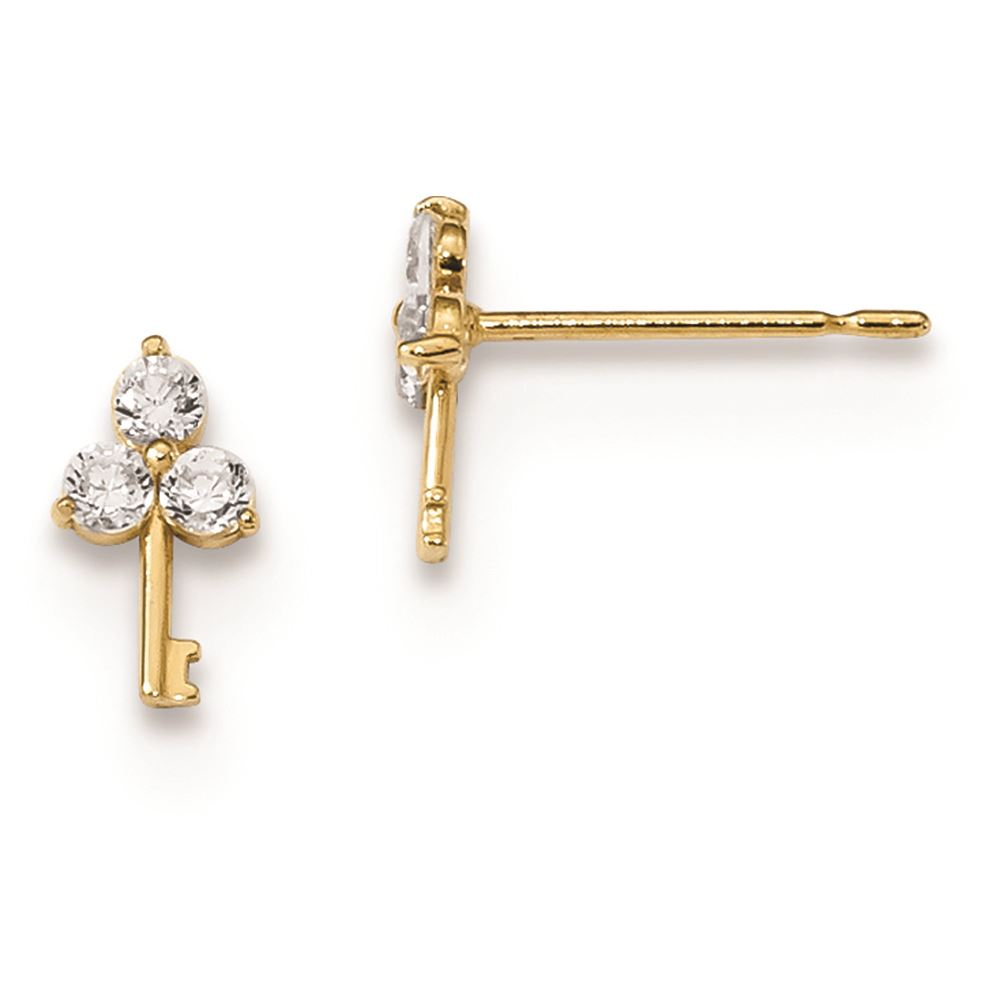 14K Yellow Gold Madi K Childrens 8 MM CZ Flower Post Stud Earrings