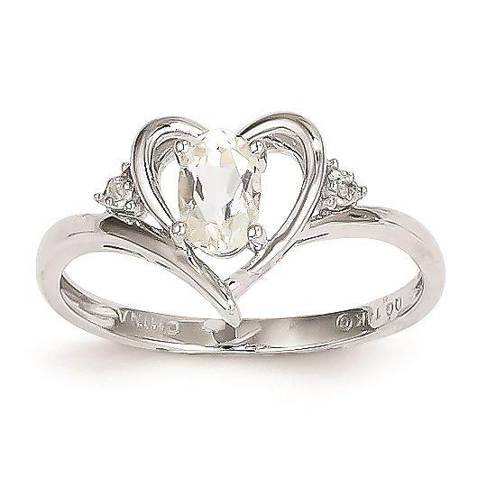 14K White Gold Diamond /& Oval White Topaz April Stone Ring Size 6