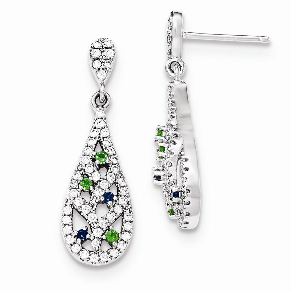 1641ee417 925 Sterling Silver 30 MM Blue/Green/White CZ Post Stud Earrings ...