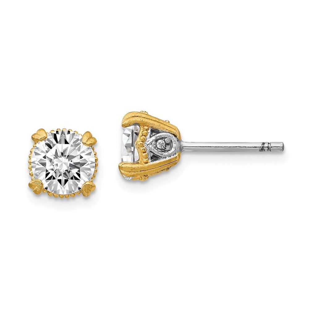 Cheryl M Sterling Silver Gold-Plated CZ Post Earrings One Size