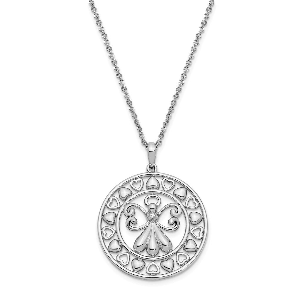 925 Sterling Silver Polished CZ Steadfast Love Cross Pendant Necklace 18 by Sentimental Expressions