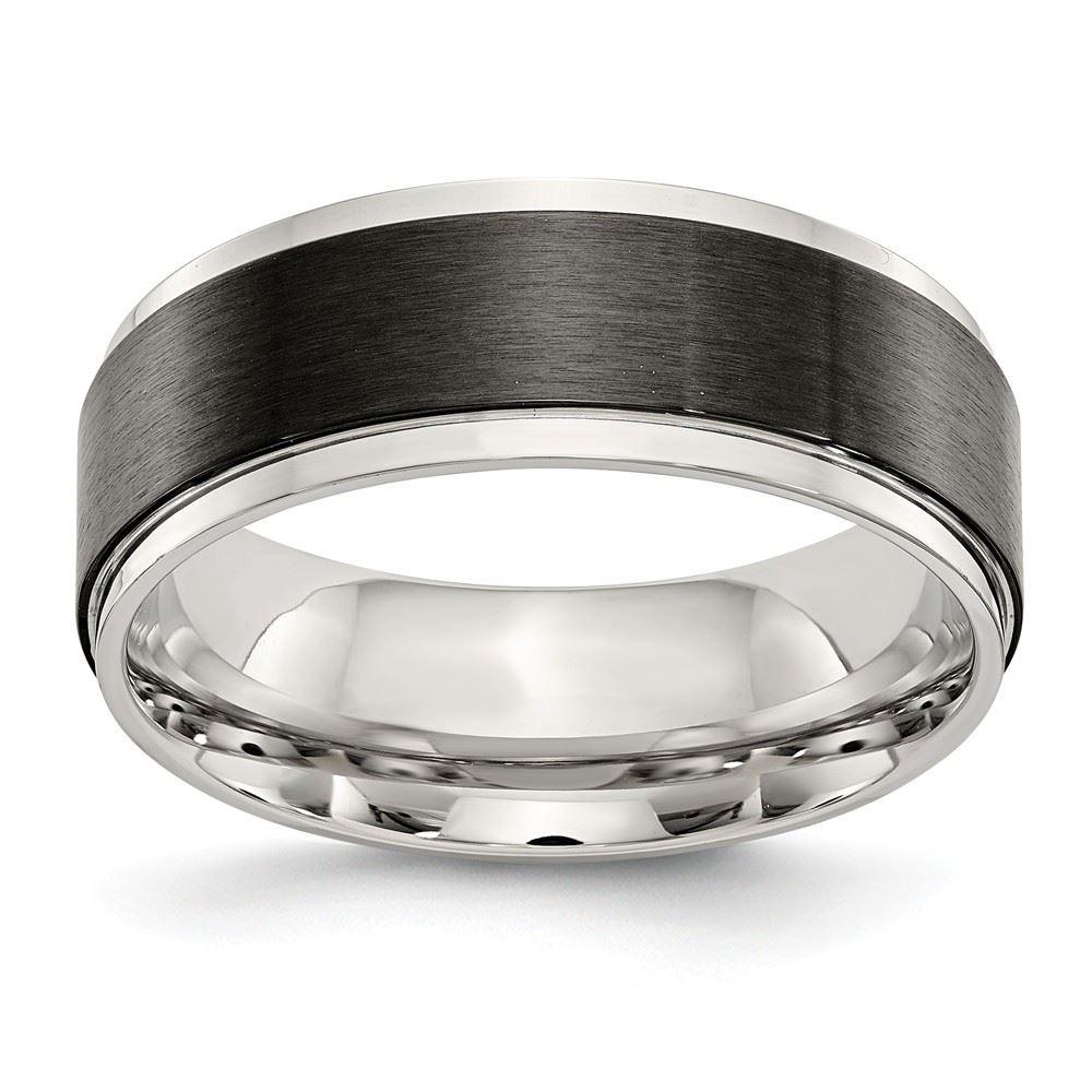 Stainless Steel Wedding Band Ring Ridged Polished Black IP-Plated 8 mm Black IP Ridged Edged Ring