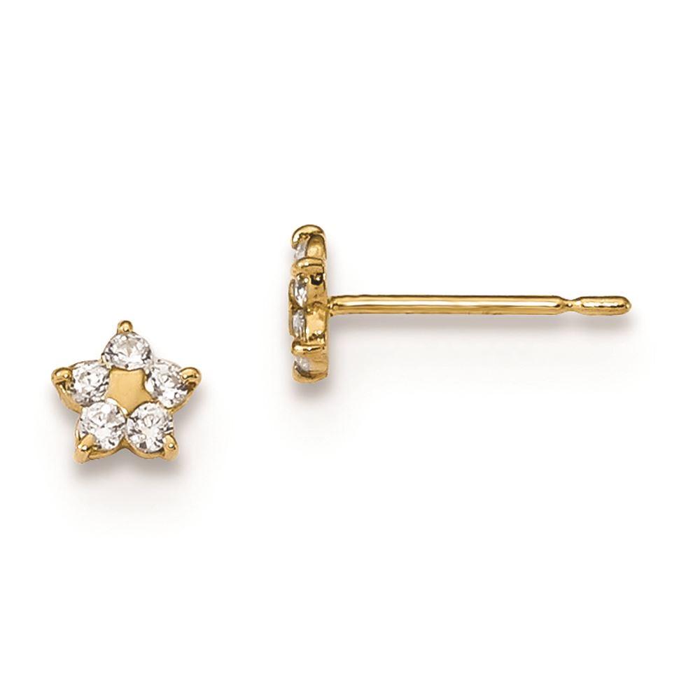 14K Yellow Gold Madi K Childrens 9 MM CZ Dragonfly Heart Post Stud Earrings