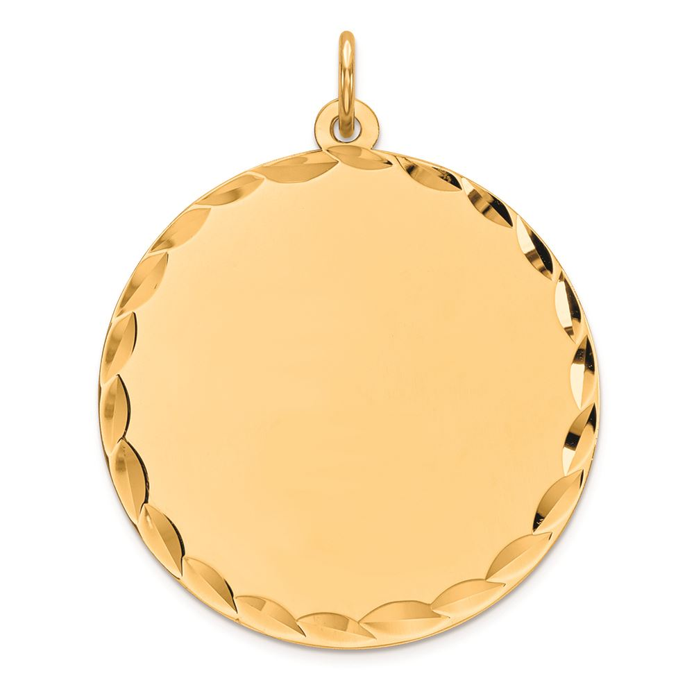 Sterling Silver Gold-Plated Engravable Round Polished Disc Charm Pendant