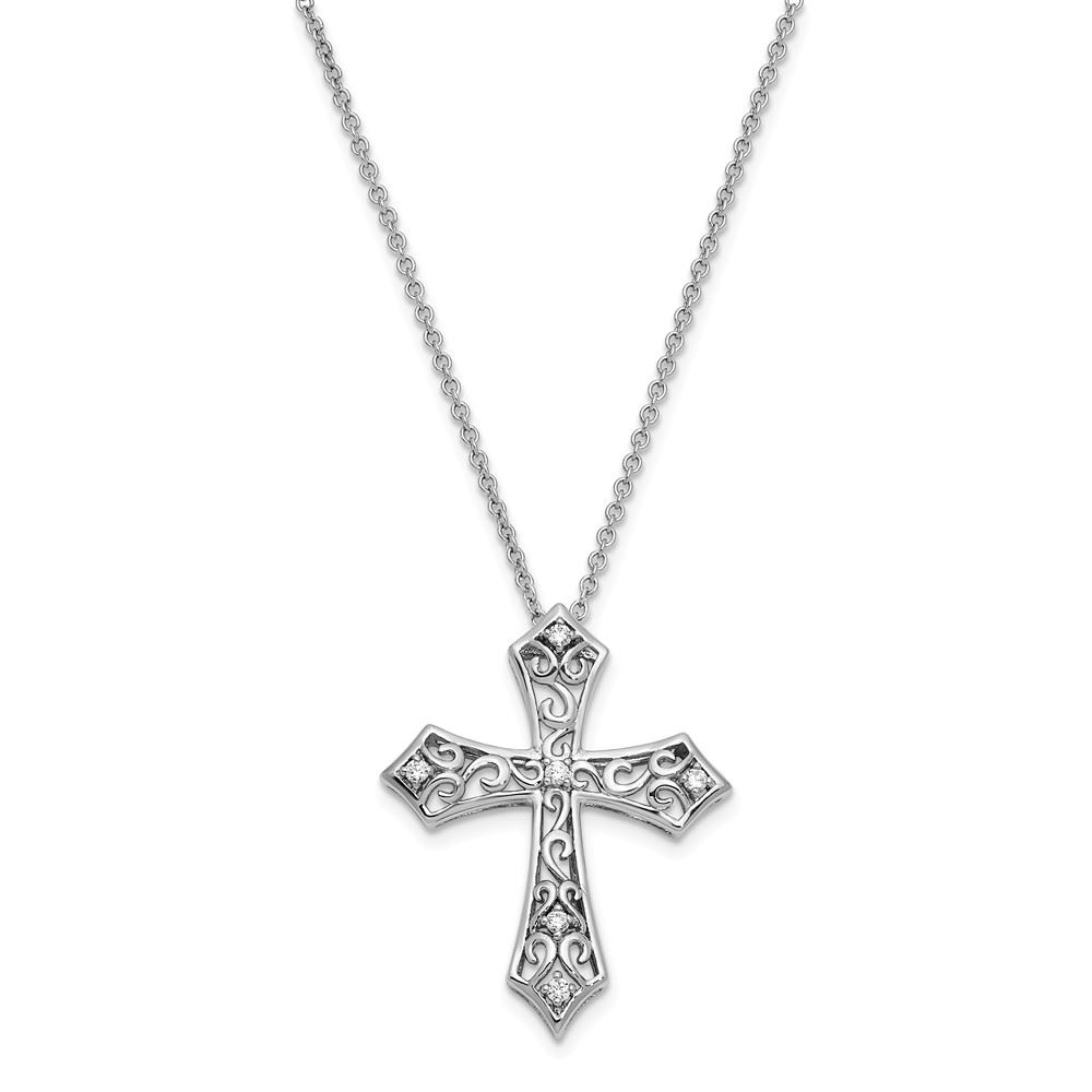 Sterling Silver Polished /& Antiqued CZ Love Cross Cross Pendant Necklace 18 by Sentimental Expressions
