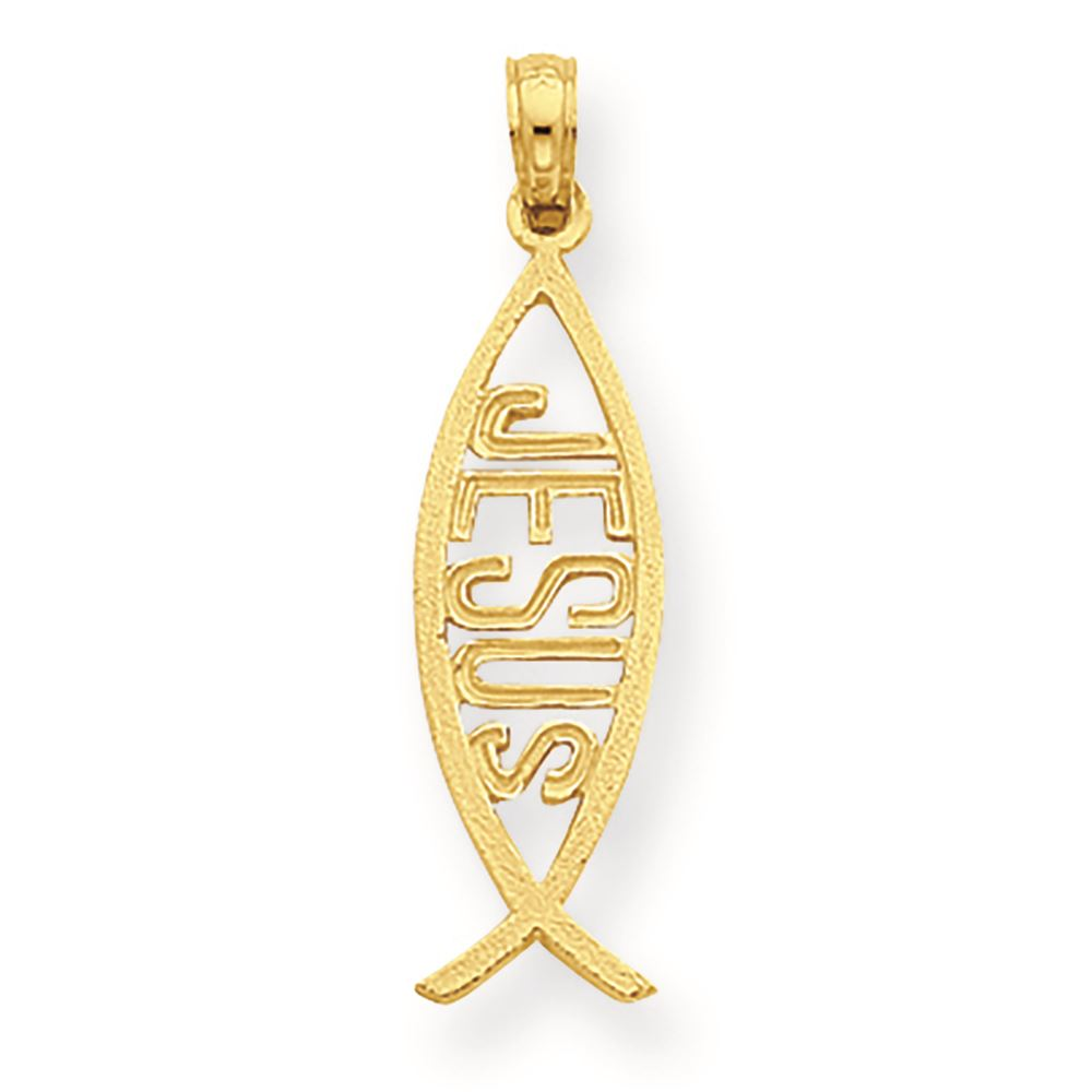 14K Yellow Gold Ichthus Fish with Jesus Charm Pendant