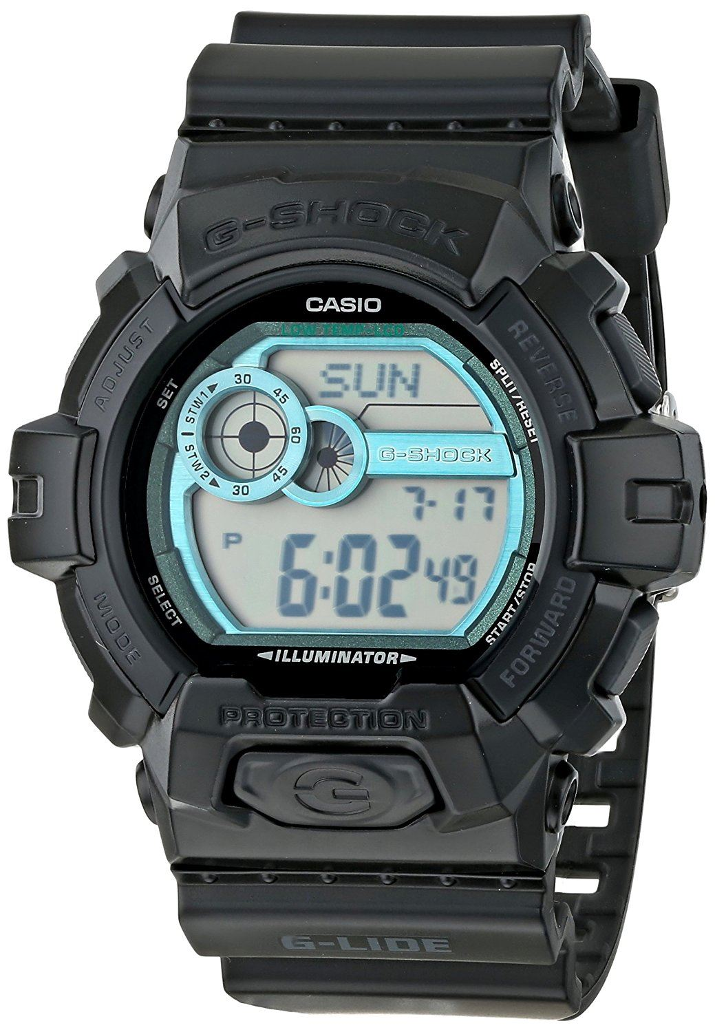 742442ad2b1 GLS8900-1 is a digital black resin watch with blue dial and regular LCD and  water resistant up to 660 feet (200 meters). The watch is backed by one  year ...