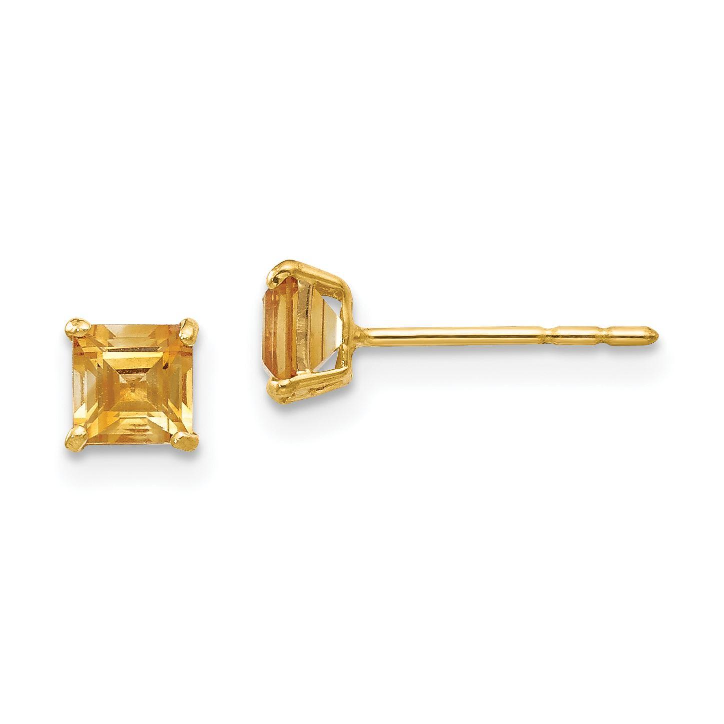 14K Yellow Gold Jewelry Button Earrings 4 mm 9 mm Madi K CZ Childrens Post Earrings