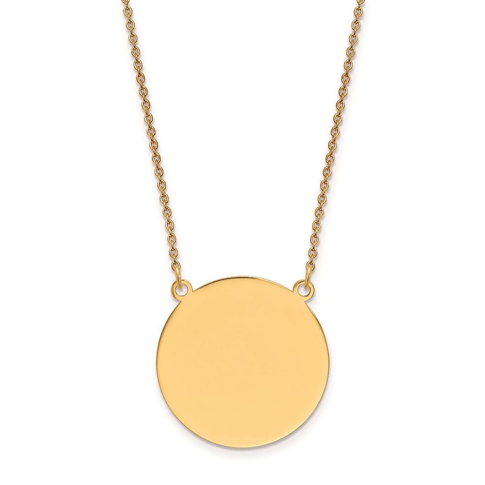 14K Yellow Gold Patterned .013 Gauge Circular Engravable Disc Charm
