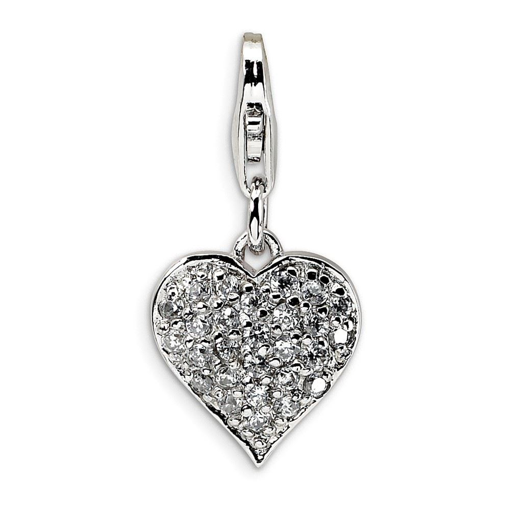 Amore La Vita Sterling Silver 3-D Pink CZ Click-On Lobster Clasp Charm Pendant