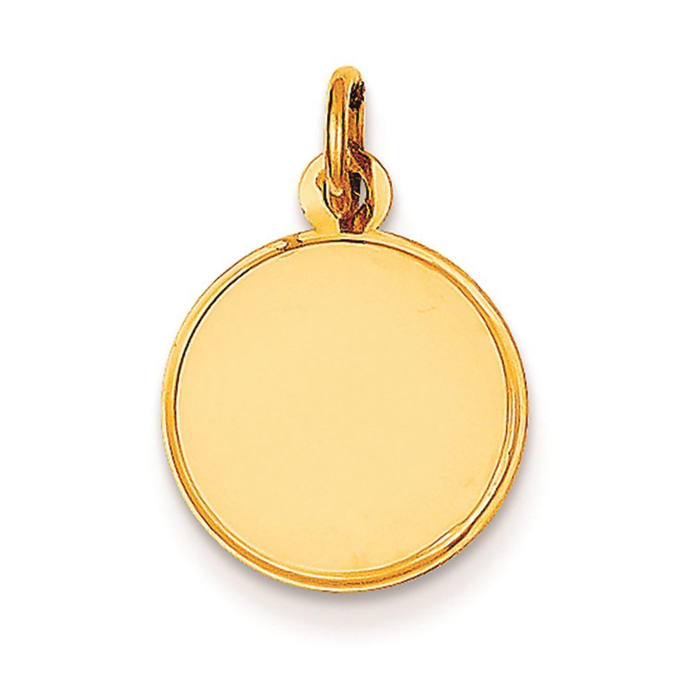 14K Yellow Gold .009 Gauge Engravable Round Disc Charm Pendant MSRP $126