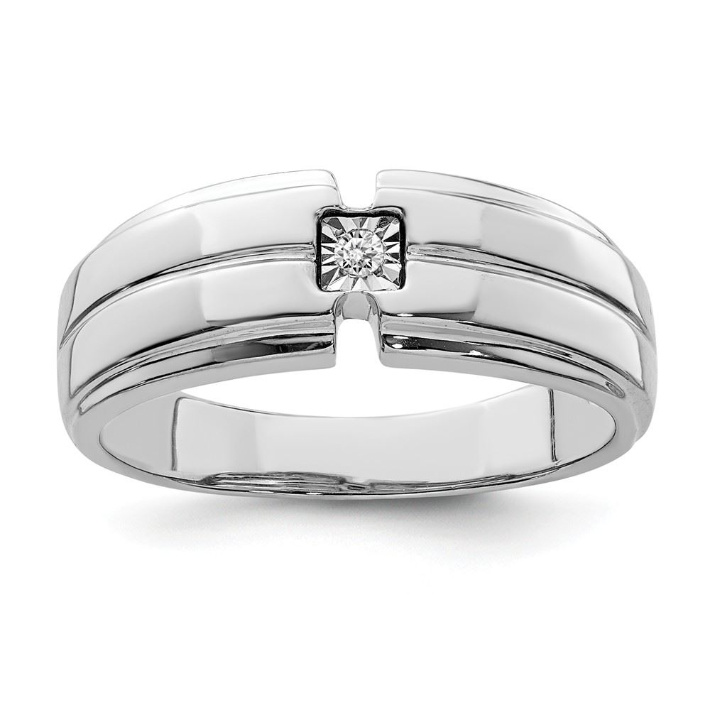 Sterling Silver Mens Polished Diamond Ring
