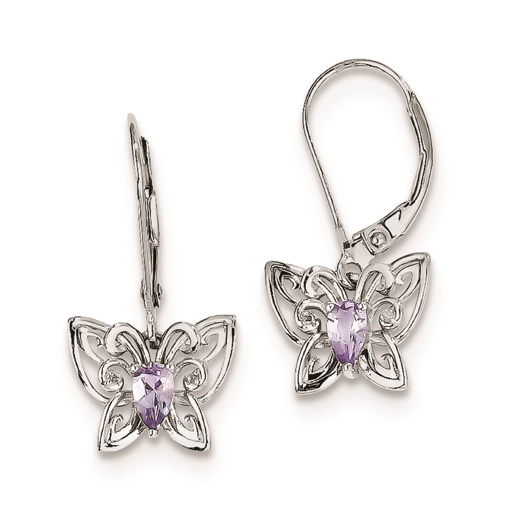 72b5f5d06 Details about .925 Sterling Silver Genuine Diamond Pink Quartz Butterfly  Earrings (0.02 CTW)