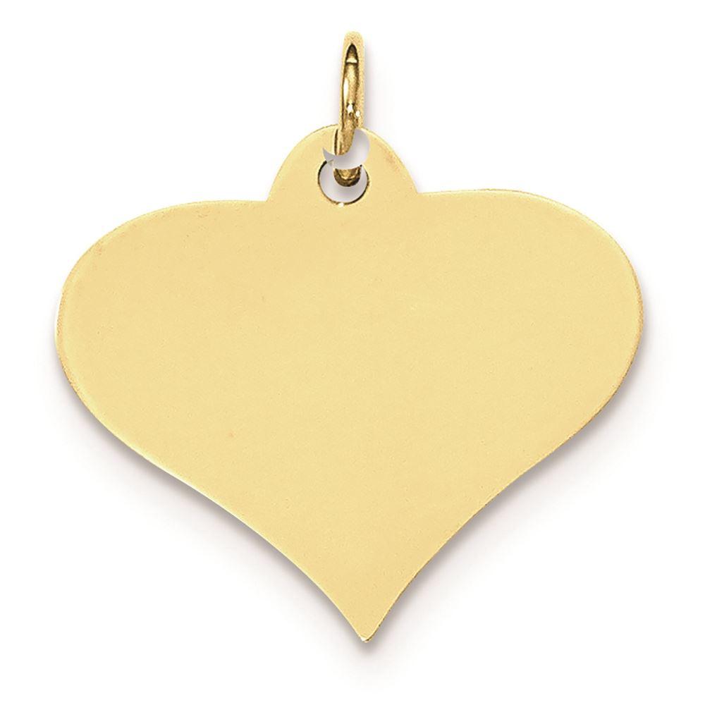 10K Yellow Gold Plain 0.018 Gauge Engravable Heart Disc Charm Pendant MSRP $82