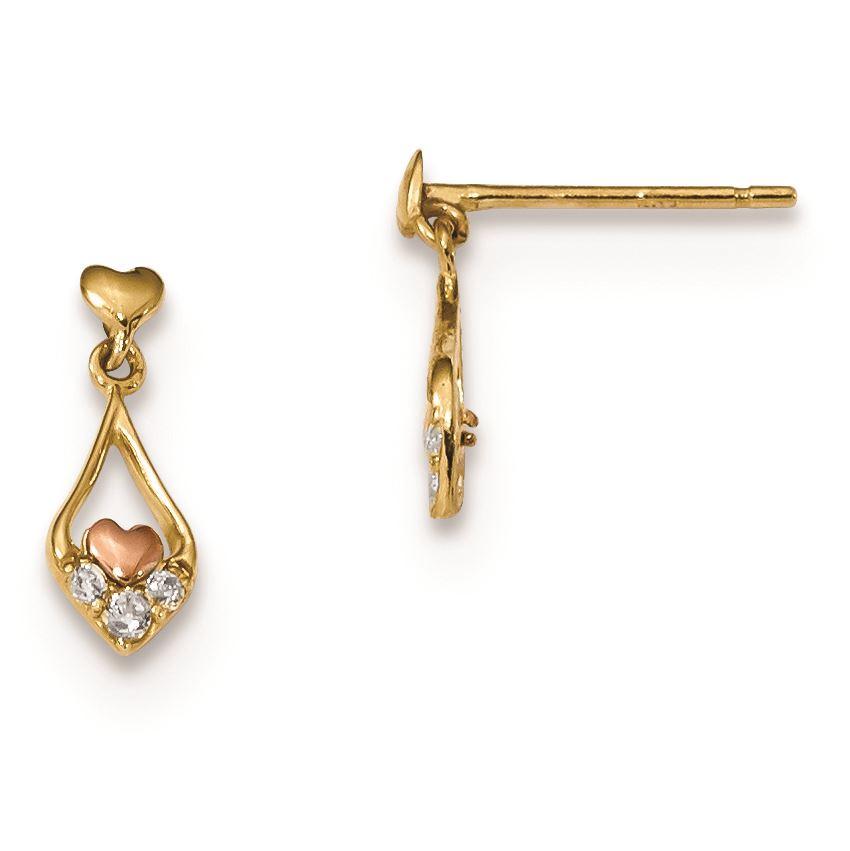 14K Yellow Gold Madi K Childrens 4.5 MM CZ Chain Dangle Post Stud Earrings