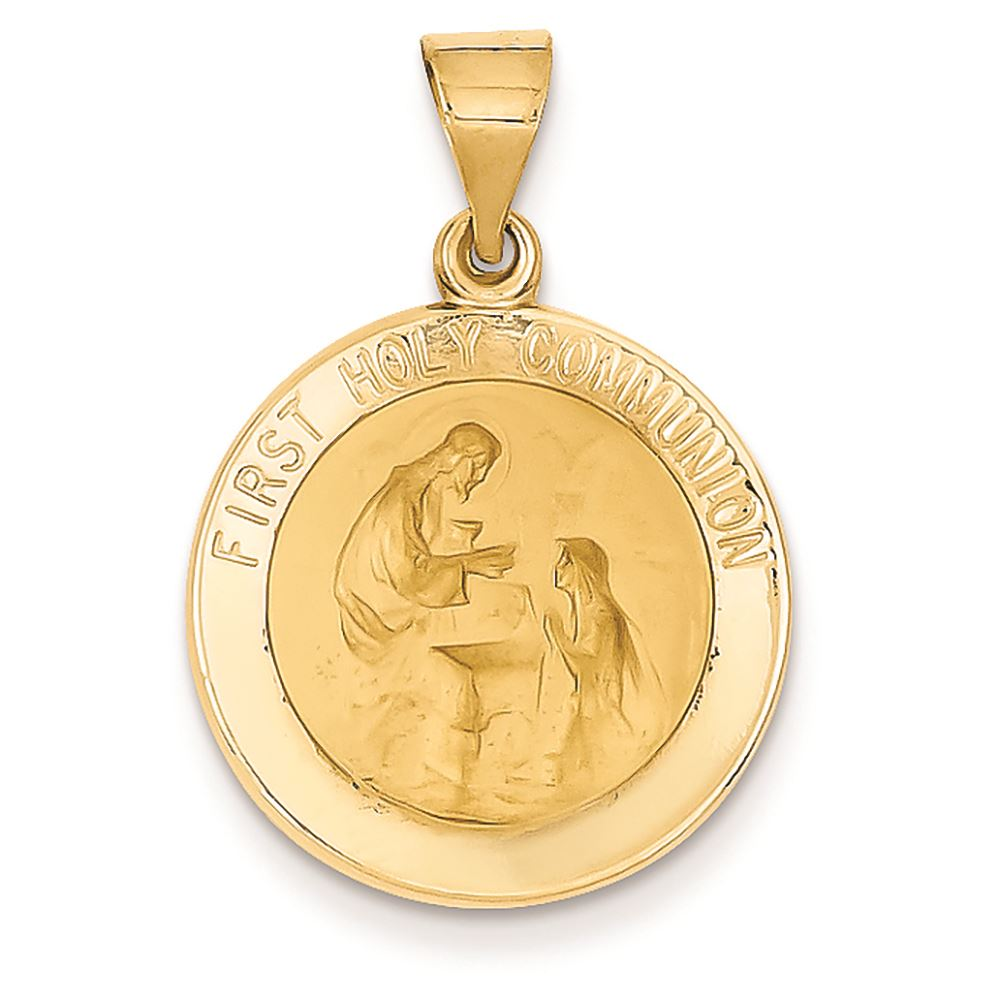 14k White Gold Holy Communion Religious Pendant Charm