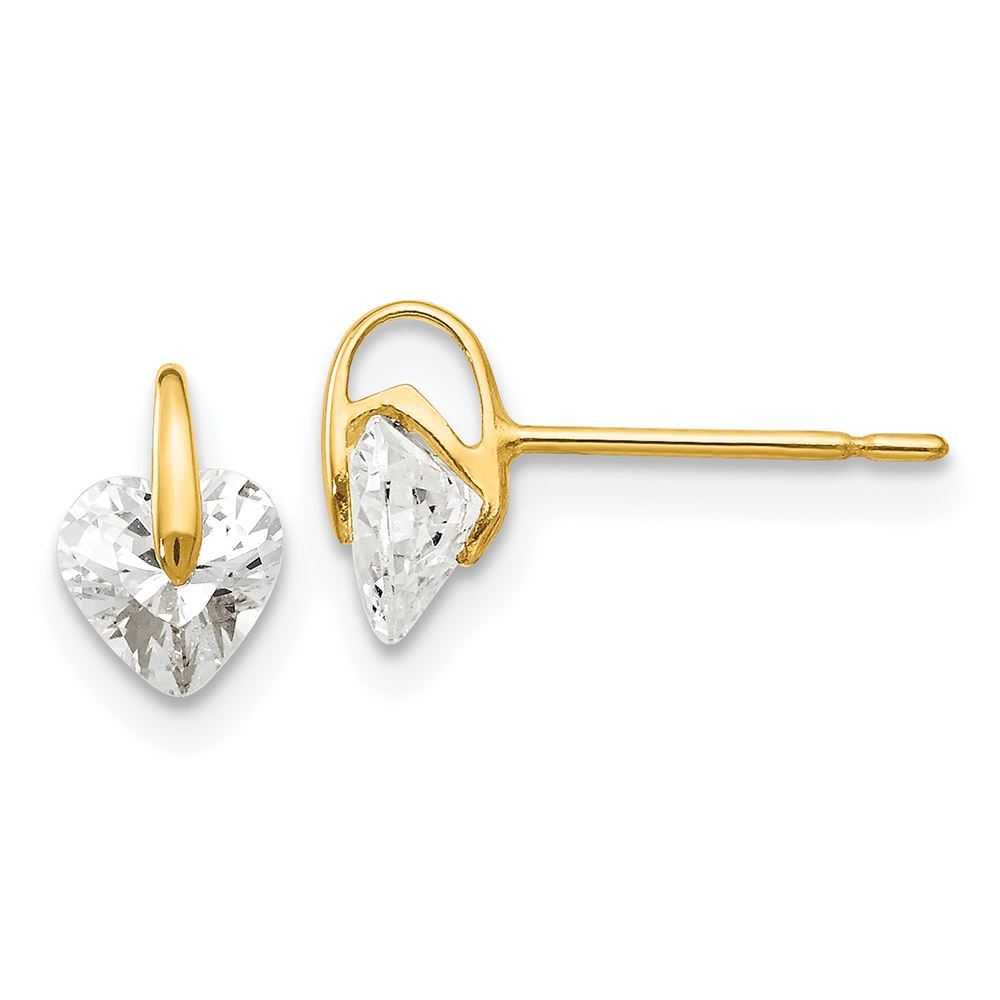 14K Yellow Gold Madi K Childrens 5 MM CZ Post Stud Earrings