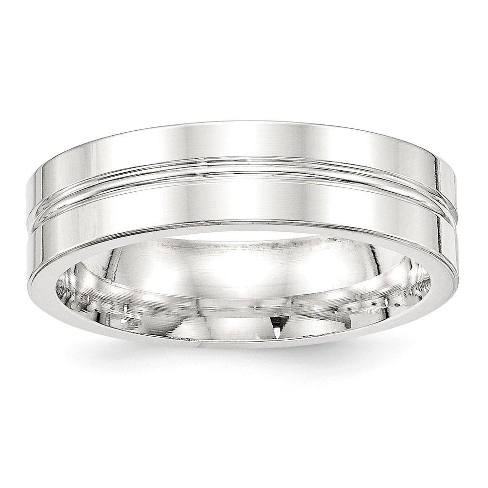 925 Sterling Silver 6mm Polished Fancy Wedding Band