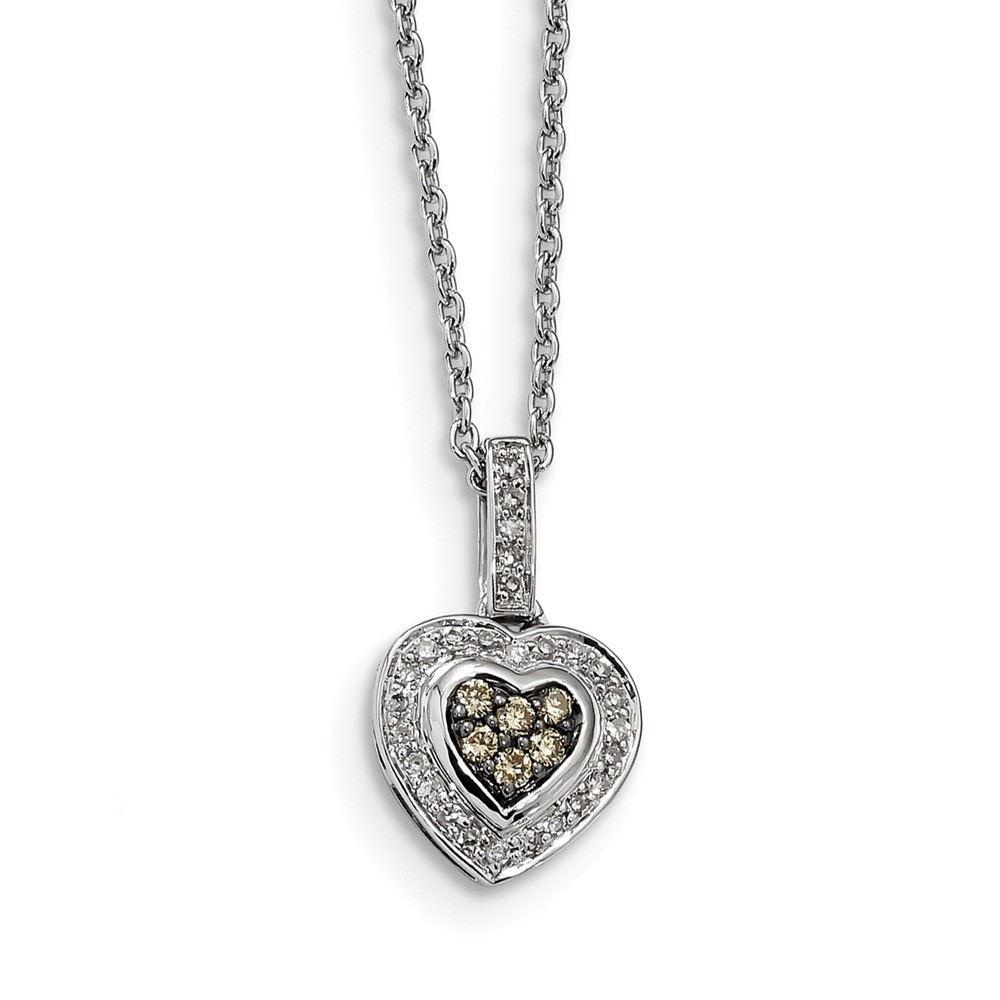 Sterling Silver Diamond Heart Charm Pendant
