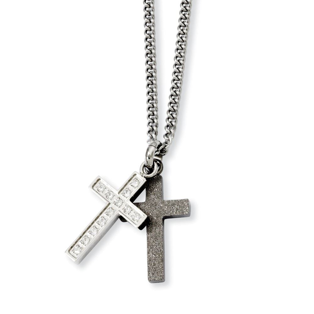 """Chisel Stainless Steel Black IP Plated Cross with CZ Pendant Necklace 20/"""""""