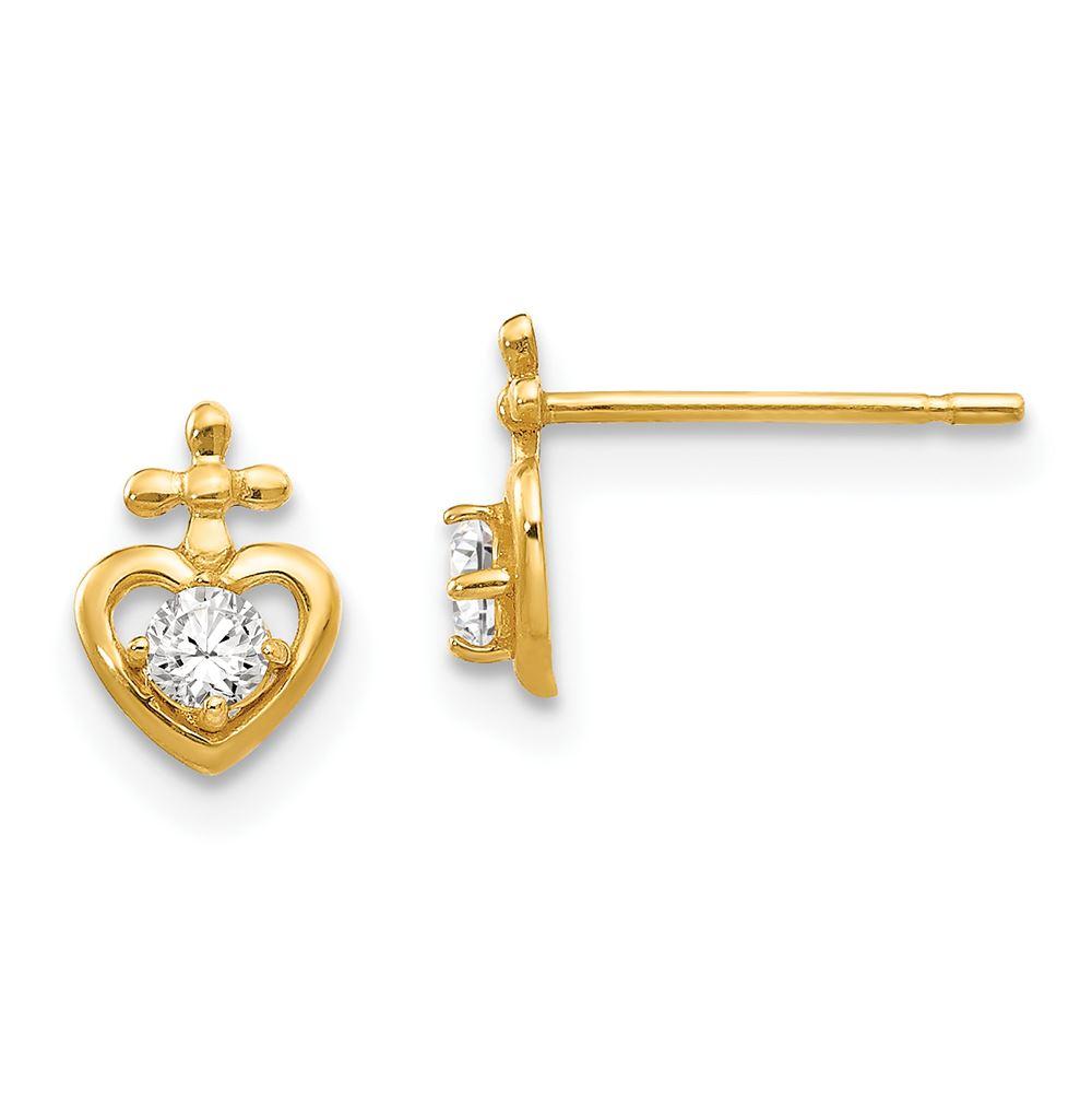 14K Yellow Gold Madi K Childrens 8 MM CZ Heart Dangle Post Stud Earrings