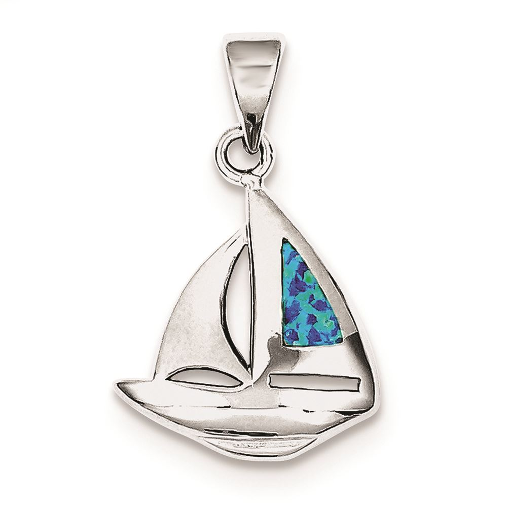 Sterling Silver Blue Inlay Created Opal Thin Cross Pendant