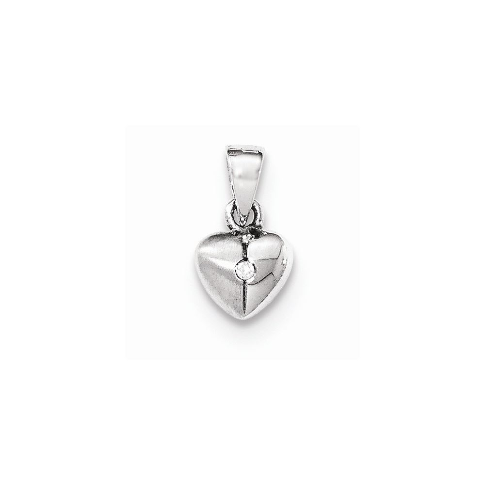 .925 Sterling Silver CZ Heart Cross Charm Pendant