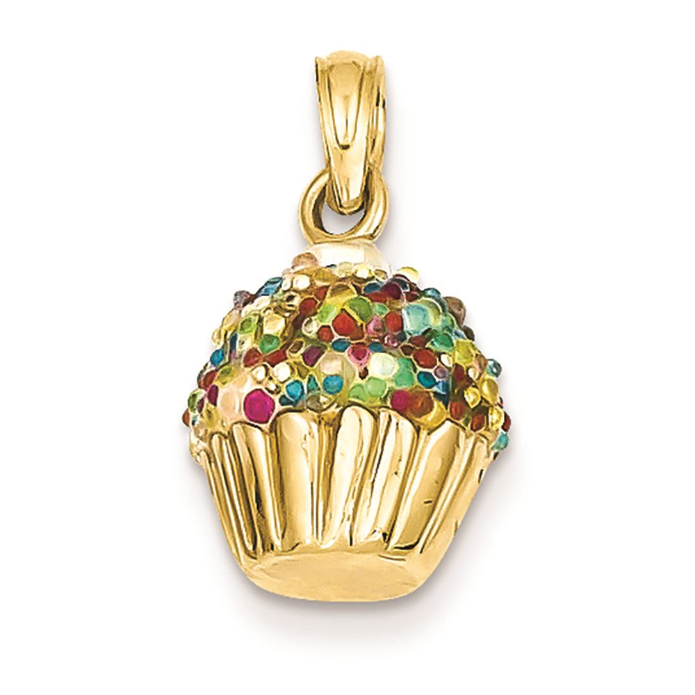 Details about 14K Yellow Gold 3D Beaded Icing Cupcake Charm Pendant MSRP  $693