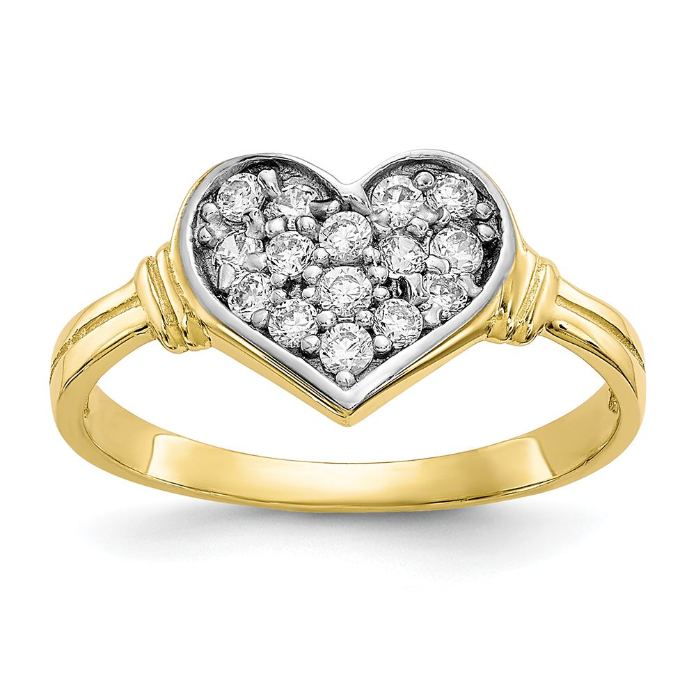 Beautiful 14K Solid Yellow Gold Two Tone Double Heart Ring Size 7.25