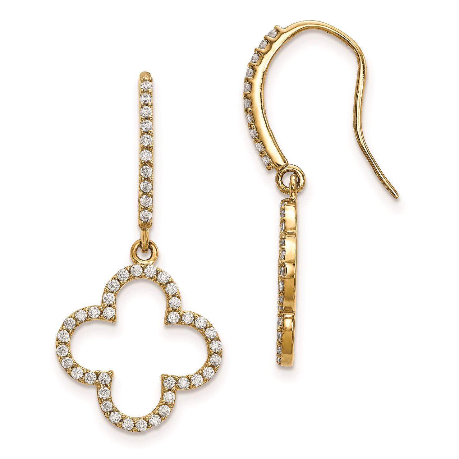ac84878ca15ca5 Details about 14K Yellow Gold Diamond Quatrefoil Design Dangle Earrings,  (0.64 CTW)
