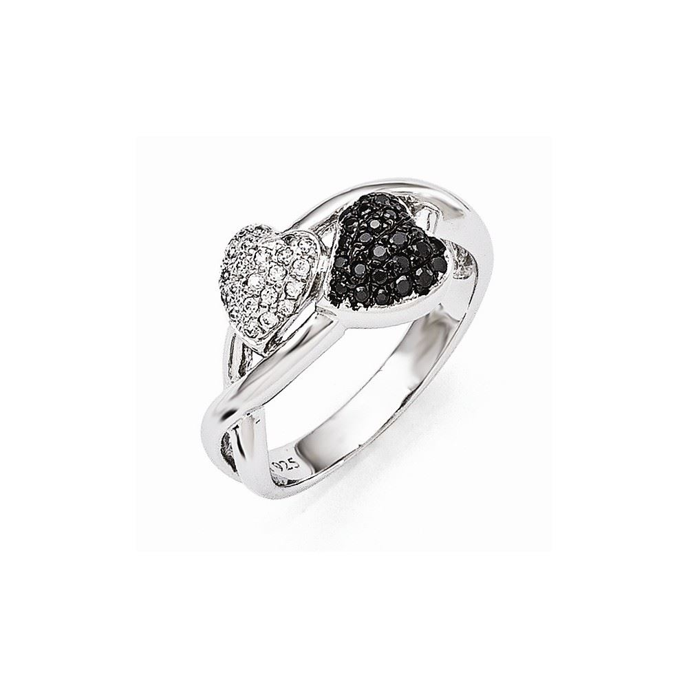 Sterling Silver 3 MM Brilliant Embers Black and CZ Ring