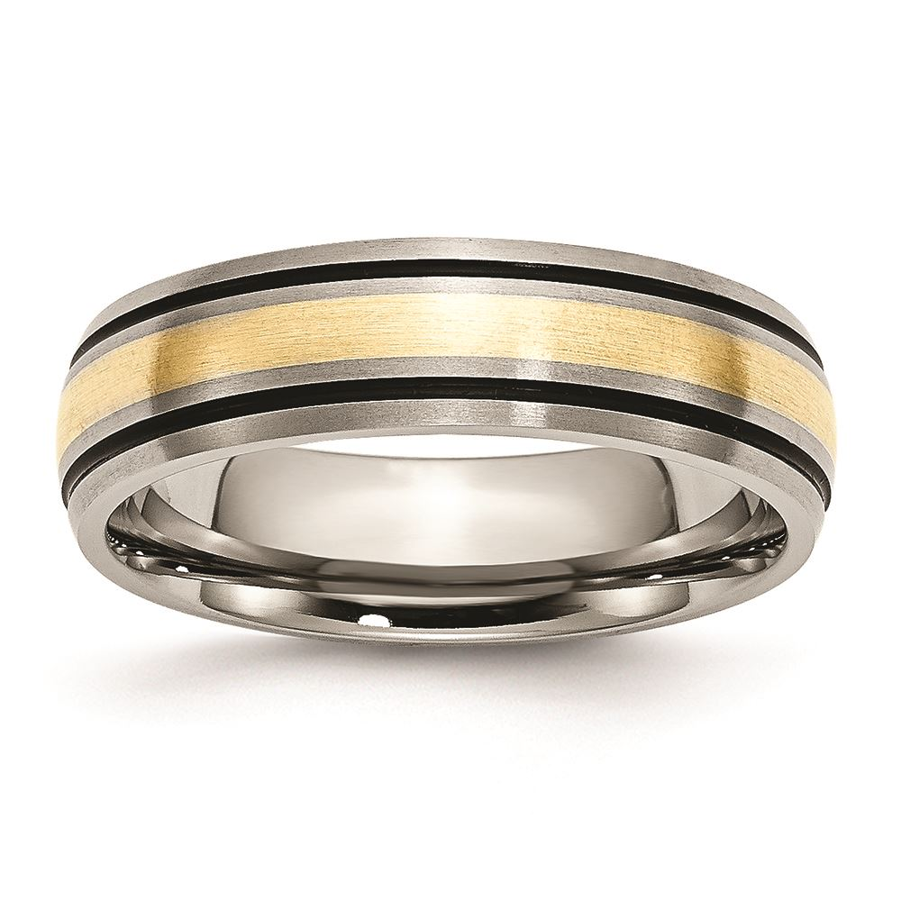 Titanium 14k Yellow Inlay 8mm Brushed Wedding Ring Band Size 9.50 Precious Jewelry & Watches